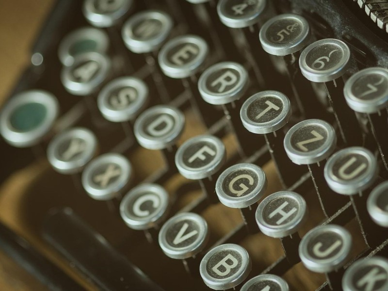 Close up of the keys of an old typewriter