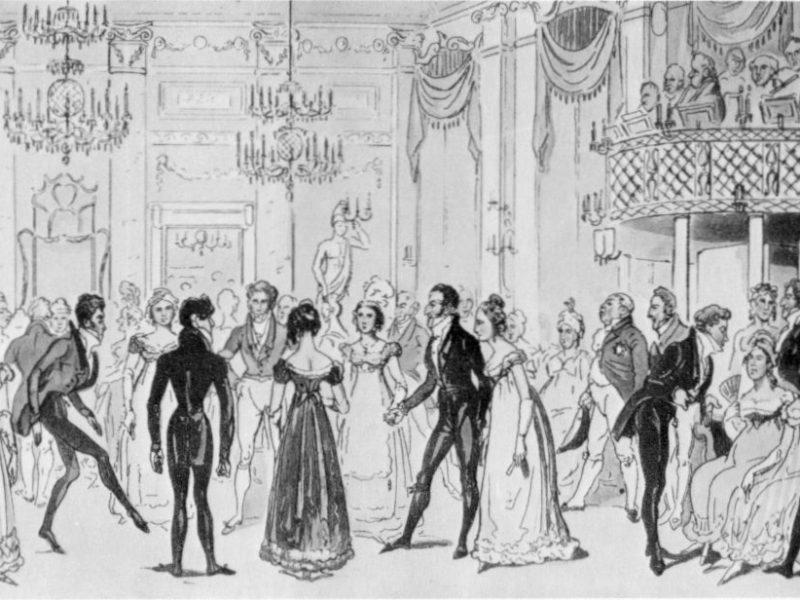 Drawing of Regency gentlemen and ladies dancing at a ball