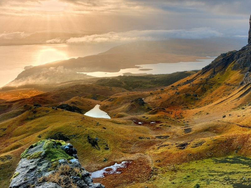 Looking down over the mountains of the Isle of Skye to the sea
