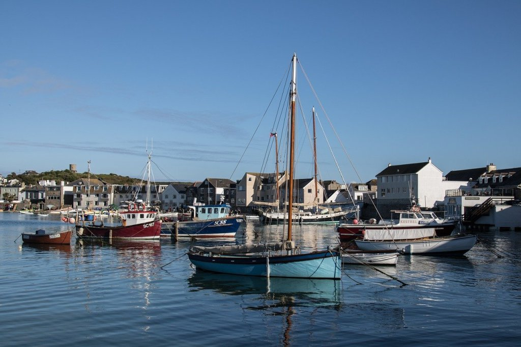 Views of the boats in the harbour of St Mary's, Scilly Isles