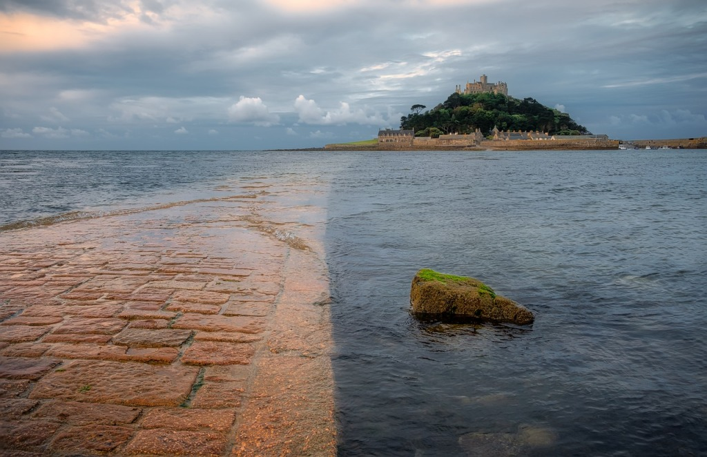 Looking along the tidal road to St Michaels Mount