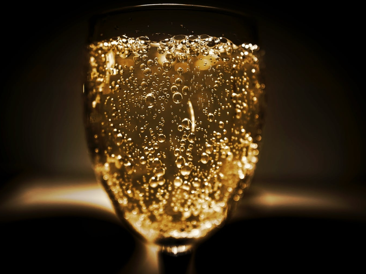A close up of the glass of sparkling wine